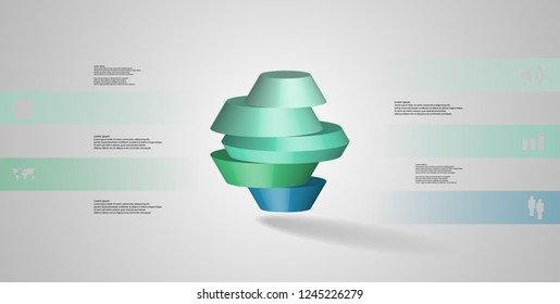 3D illustration infographic template. The round octagon is divided to five color parts. Object is arranged on grey white background. Color bars with simple signs are on sides.