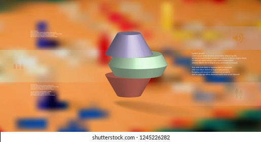 3D illustration infographic template. The round octagon is divided to three color parts. Object is arranged on blurred photo background. Color bars with simple signs are on sides.
