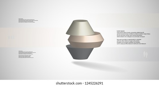 3D illustration infographic template. The round octagon is divided to three color parts. Object is arranged on grey white background. Color bars with simple signs are on sides.