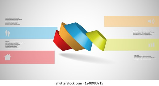 3D illustration infographic template. The round octagon is divided to four color parts. Object is askew spilled on grey white background. Color bars with simple signs are on sides.
