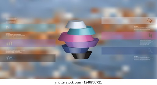 3D illustration infographic template. The round octagon is divided to six color parts. Object is arranged on blurred photo background. Color bars with simple signs are on sides.