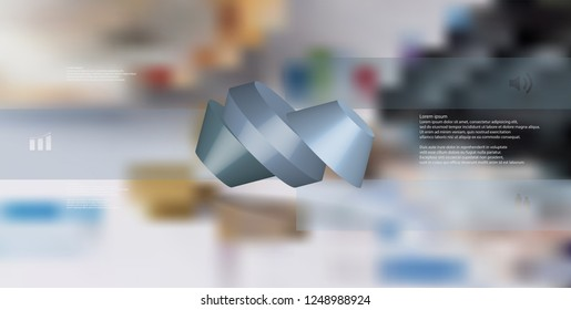3D illustration infographic template. The round octagon is divided to three color parts. Object is askew spilled on blurred photo background. Color bars with simple signs are on sides.