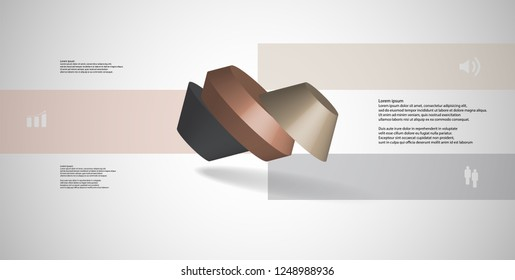 3D illustration infographic template. The round octagon is divided to three color parts. Object is askew spilled on grey white background. Color bars with simple signs are on sides.