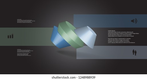 3D illustration infographic template. The round octagon is divided to three color parts. Object is askew spilled on grey black background. Color bars with simple signs are on sides.