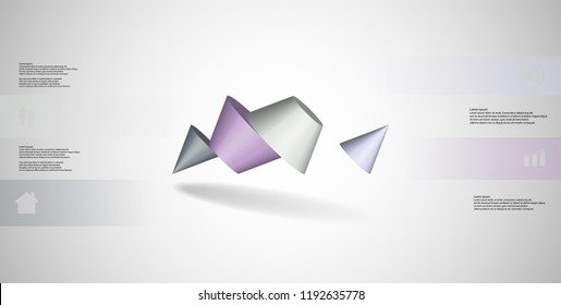 3D illustration infographic template. The two spiked cone is divided to four color parts. Object is askew arranged on grey / white background. Color bars with simple sign are on sides.