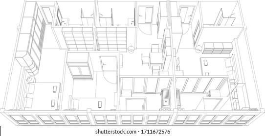 3D illustration of interior plan