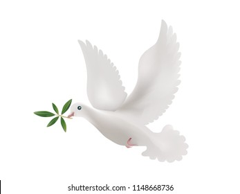 3d illustration with isolated dove and olive leaves. Symbol of peace