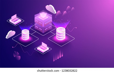 3D illustration of laptop and database connected with cloud server for Data center concept based isometric design.