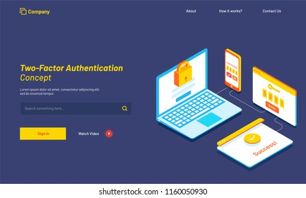 3D illustration of laptop with login window, smartphone with confirmation code, login successfully after entering code. Responsive web template design for Two-Factor Authentication.