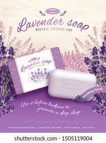 3d illustration lavender soap ads with retro engraved flowers garden background