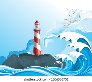 3D illustration lighthouse on rocky offshore outcrop providing protection to shipping with high ocean waves set against a blue cloudy sky