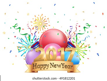 3D illustration logo of happy New year 2017 concept Celebration colorful isolate on white background. Logo&symbol .vector illustration. EPS10