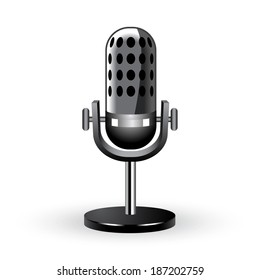 3d illustration of microphone isolated on white background