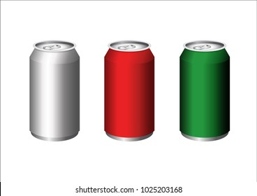 3D illustration on white background of three metal cans to carry drinks in silver, red and green colors.