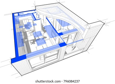 3d illustration of Perspective cutaway diagram of a one bedroom apartment completely furnished with flat roof cutaway over it and with schematic floorplan above