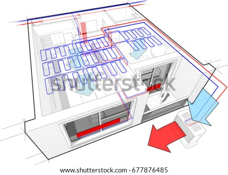 3 D Illustration Perspective Diagram Apartment Radiator Stock Vector ...