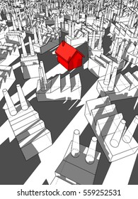 3d illustration of red detached house surrounded by many factories