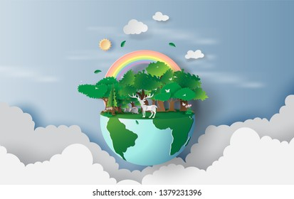 3D illustration of reindeer in green trees forest,Creative design world environment and earth day concept idea.landscape Wildlife with Deer in green nature plant by rainbow.paper cut and craft.vector