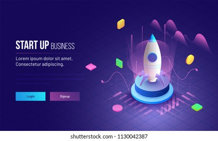 3D illustration of rocket with infographic elements and ultraviolet rays for Business Startup concept landing page design.