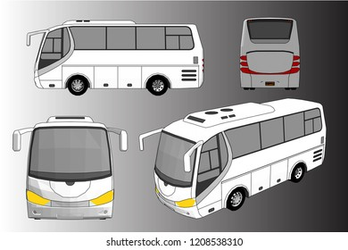 3D illustration of a single layer bus vector.