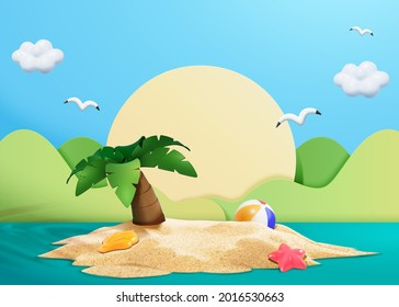 3d illustration of small island with a palm tree, seashell, starfish and beach ball on sand. Papercut style sun and mountains in background