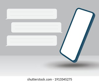 3d illustration, a smartphone with a chat icon on the side