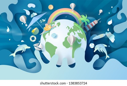 3D illustration of summertime Environment earth for travel holiday concept.Summer season hot with splash water.Creative design paper art and cut with pastel color simple.Relax at vacation day.vector