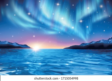 3d illustration of sunrise over tranquil sea horizon and stunning aurora shimmering on the starry night