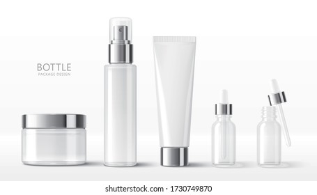 3d illustration of various blank cosmetic container mock-ups, including jar, pump bottle, cream tube, and dropper, isolated on white background