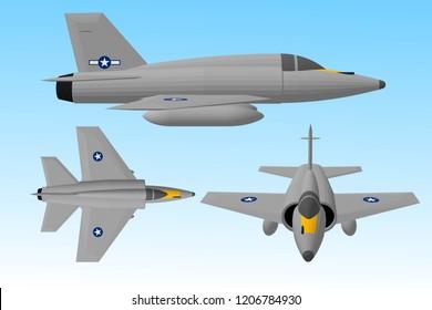3d illustration, vector, Jet aircraft