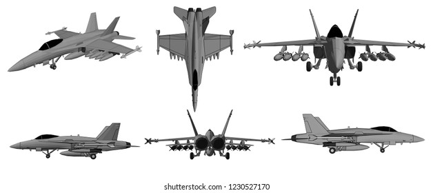 3d illustration, vector, Jet aircraft