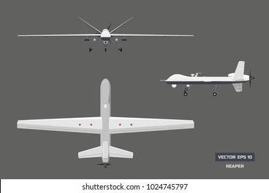 3d image of military drone. Top, front and side view. Army aircraft for intelligence and attack.  Industrial isolated drawing. Vector illustration