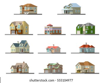 3d image of a private house . vector infografic illustration set