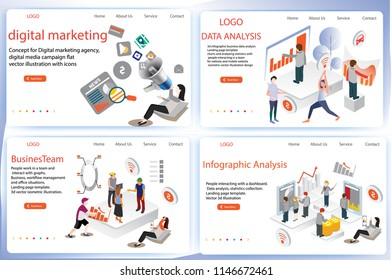 3d análisis de datos de negocios infográficos, plantilla de página de inicio, gráficos y estadísticas de análisis, gestión de flujos de trabajo y situaciones de oficina, Personas que interactúan con un vector isométrico de tablero