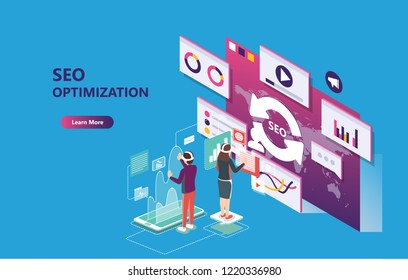 3d infographic business data analysis, Landing page template,charts and analyzing statistics with people interacting in a team,for website and mobile website, isometric vector illustration design