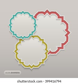 3d Infographic design of 3 round islamic style feames