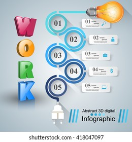 3d infographic design template and marketing icons. Bulb icon. Work icon.