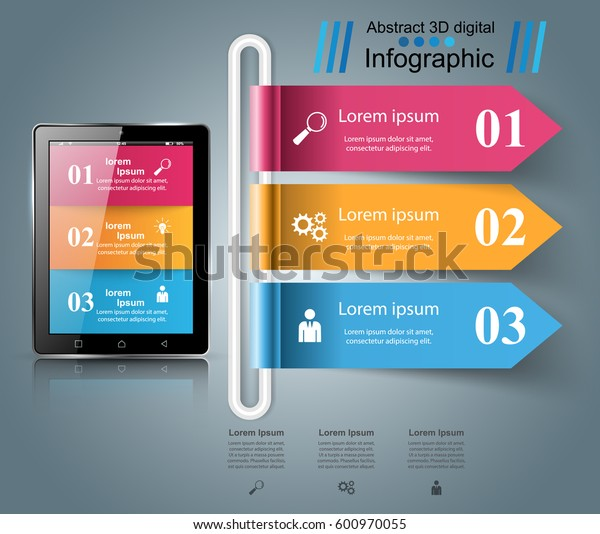 3D infographic design template and marketing icons. Business Infographics origami style Vector illustration. Tablet icon.
