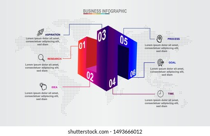 3D Infographic Elements modern template vector can be used for Infographics for workflow layout Business data visualization, business concept, presentations, process diagram, flow chart, info graph