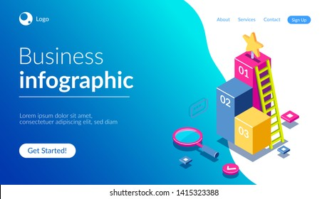 3d infographic for web template. Magnifying glass and ladder on a background of graphics. Can use for web banner, infographics, hero images. Flat isometric vector illustration.