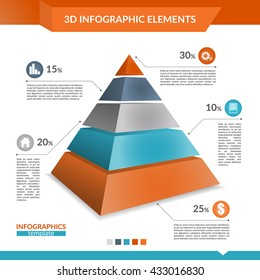 3d infographics pyramid chart for your Business reports and financial data presentation.