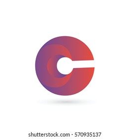 3d initial letter c logo typography design for brand and company identity. gradient purple and red color