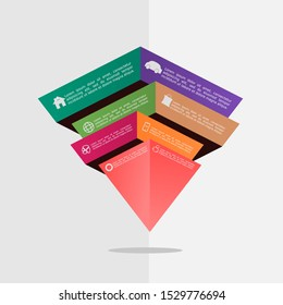 3D inverted pyramid amazing  art broken 3d shape infographic element