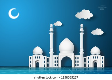 3D Iranian architectural mosque on night background