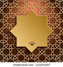 3D Islamic golden pattern, geometric shape, persian motif