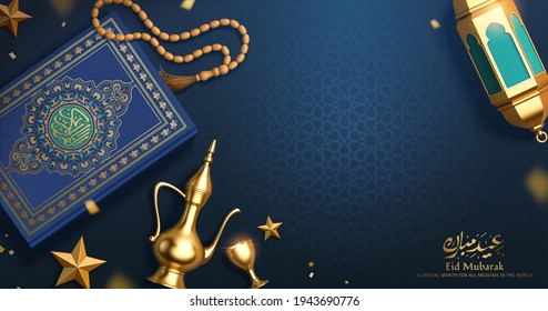 3d Islamic holiday banner. Top view illustration of Ramadan decoration on blue pattern table, including lantern, coffee pot and the holy Quran. Calligraphy Text: Eid Mubarak