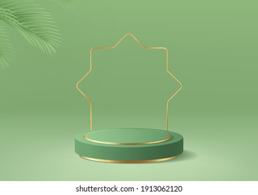 3d Islamic minimal platform in green background with gold and dates leaf. Podium for product display, presentation, cosmetic, herbal, honey, beauty, and natural product.