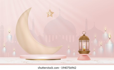 3D Islamic Podium with pink gold crescent moon, traditional islamic lantern,candles and mosque. Horizontal Islamic Banner for Product Showcase,Product presentation, Cosmetic product,Base,Ramadan Sales