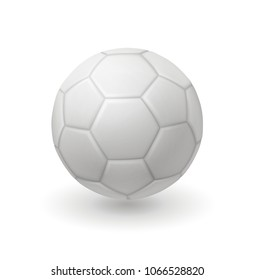 3d isolated white soccer ball, classic design ball, EPS 10 contains transparency.