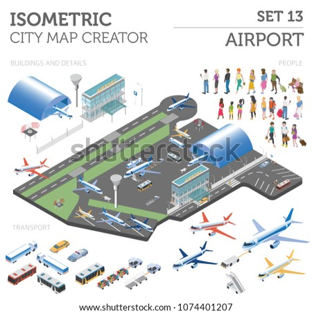 3 D Isometric Airport City Map Elements Stock Vector